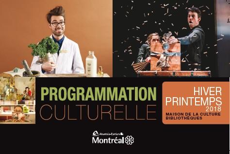 Page couverture de la programmation culturelle édition hiver-printemps 2018