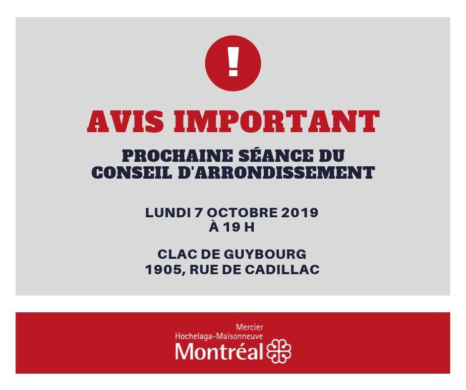 Affiche d'information sur le déménagement de la séance du conseil du 7 octobre 2019