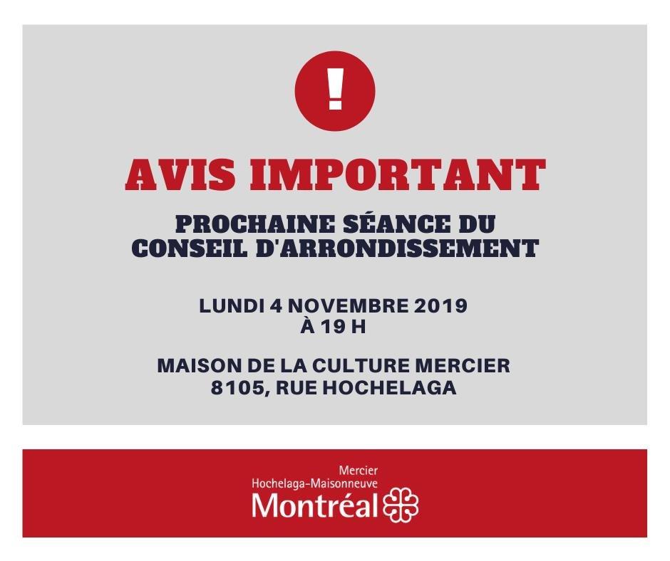 Fiche d'information sur le déménagement de la séance du conseil du 4 novembre 2019