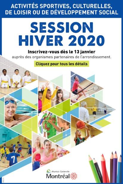 Affiche pour annoncer le début de la période d'inscription le 13 janvier aux activités de la session d'hiver 2020